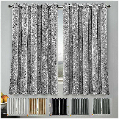 £15.99 • Buy Thermal Blackout Eyelet Ring Top Bedroom & Kitchen Small / Short Window Curtains