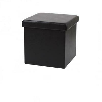 Large Folding Ottoman Faux Leather Cube Foot Rest Stool Storage Chest Black  • 12.97£