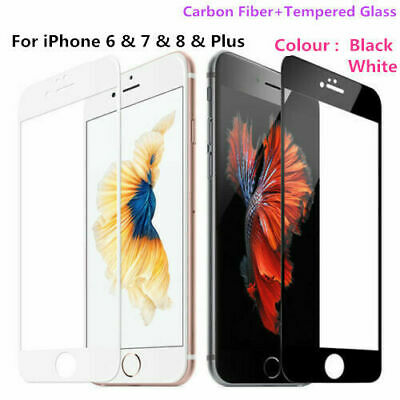 For IPhone 6S 7 8 Plus 3D Carbon Fiber Curved Tempered Glass Screen Protector • 2.49£