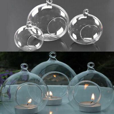 6-36X Clear Glass Ball Fillable Bauble Hanging/Table LED Candle Tea Light Holder • 9.99£