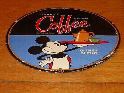 $ CDN200.48 • Buy Vintage 1940 Mickey Mouse Coffee 11 3/4  Porcelain Metal Soda, Gasoline Oil Sign