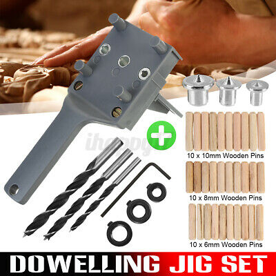 Handheld Woodworking Doweling Jig Drill Guide Wood Dowel Drilling Hole Saw Sets • 6.99£