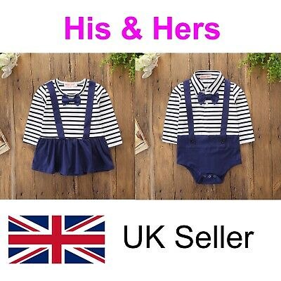 Twins Baby Grows Baby Vests Clothes Outfit Boy Girl Unisex Free Delivery Sale • 19.99£