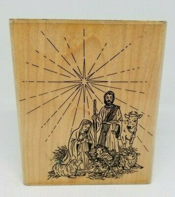 £10.64 • Buy Embossing Arts Away In A Manager Wood Mount Rubber Stamp Nativity Christmas Star
