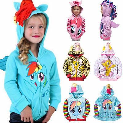 Kids Girls Baby My Little Pony Hoodie Wing Twilight Rainbow Dash  Jacket Coat • 10.92£