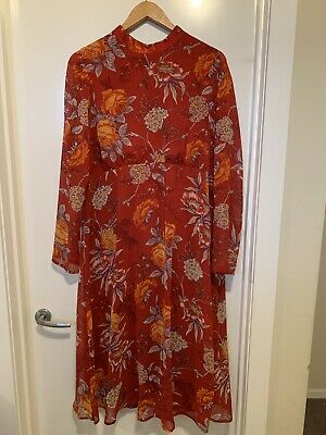 AU22 • Buy Asos Size 18 Red Floral Dress Worn Once