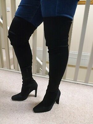 MISSGUIDED Stunning NEW Black Stretch Over Knee Pullon Heel Boots 6.5-7/ 39.5-40 • 10.99£