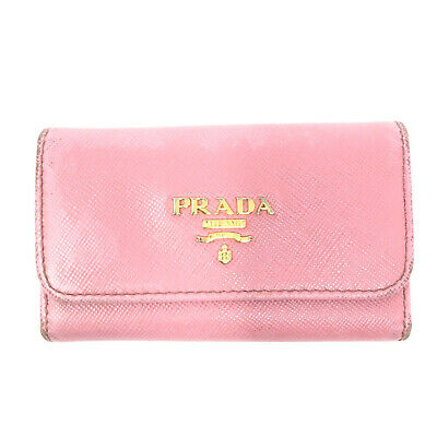 PRADA Saffiano Leather Key Pouch Wallet Cardholder In Light Pink - Italy • 75£