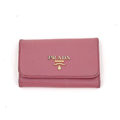 PRADA Saffiano Leather Key Pouch Wallet Cardholder In Dusty Pink - Italy • 45£