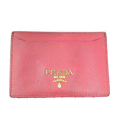 PRADA Saffiano Leather Wallet Purse Cardholder In Pink - Italy • 35£