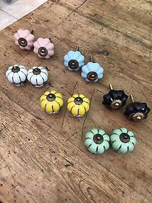 Cupboard Door Knobs, Drawer Pull Handles, Ceramic & Glass, Vintage, Shabby Chic • 15£