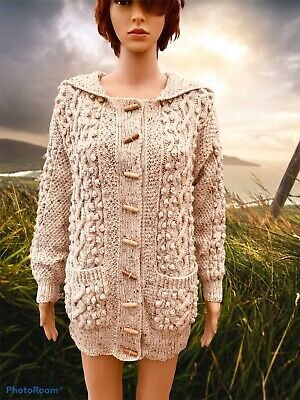 Vintage Ladies Cardigan Size 10/12 ?  Aran Hand Knit With Hood Cable Long Line • 45£