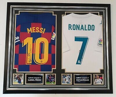 *** Rare Lionel Messi And Cristiano Ronaldo Signed Shirt Autographed Display *** • 1,295£