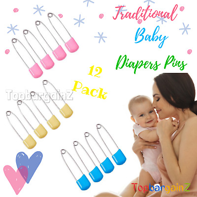 £2.96 • Buy Baby Diaper Pins Nappy Safety Pin Coloured Changing Fastener Cloth Box 12 Pack