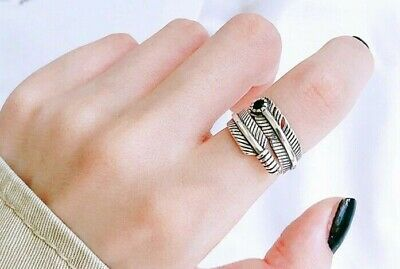£4.99 • Buy 925 Sterling Silver Plated Leaf Feather Ring Sizeable Adjustable Wrap Vintage UK