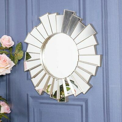Silver Ornate Sunburst Mirror Wall Mounted Plastic Bedroom Home Chic Decor  • 18.95£