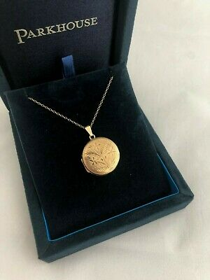 Vintage 9ct Gold Round Double Locket On An 18  9ct Gold Fine Curb Chain - 4.25g • 145£