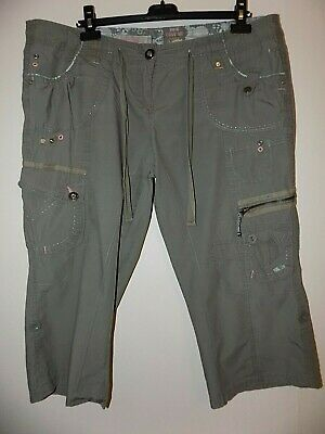 New Look Cropped Cargo Trousers - Khaki Size 16 Excellent Condition • 9£