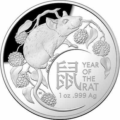 AU99.95 • Buy 2020 $5 Lunar Year Of The Rat 1oz .999 Silver Proof DOMED Coin - RAM