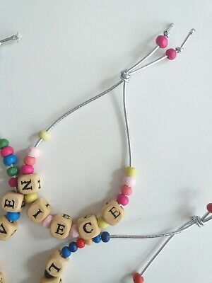 £2.99 • Buy Personalised Wooden Bead Bracelet Stocking Filler / Party Bag ANY Name / Message
