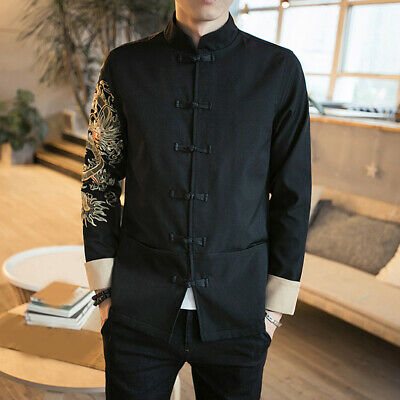 $40.53 • Buy Mens Traditional Chinese Coat Clothing Embroider Dragon Top Kung Fu Suit Jacket