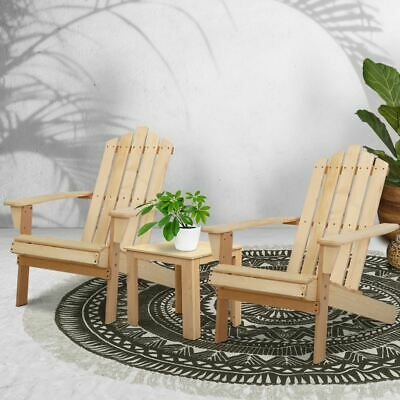 AU191.95 • Buy Wooden Outdoor Setting Table And Chair Set Adirondack Patio Natural 3 Piece Set