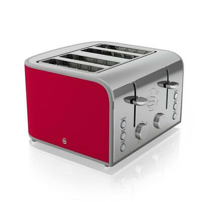 £44.50 • Buy Swan ST17010RN Red 1600W Cool Touch 4 Slice Retro Toaster