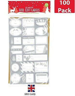100pk Christmas Gift Labels Foil Silver Gold Self Adhesive Tags Stickers G3189UK • 2.99£