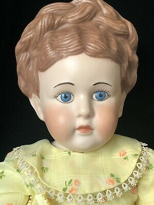 "$ CDN64.42 • Buy Vintage Hand Painted Reproduction Porcelain Doll 24"" Molded Hair"