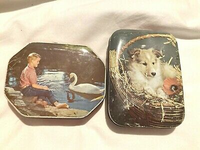 Vintage Blue Bird Toffee Tin With Puppies on Lid -  Take The Home Sweet Home  • 4.99£
