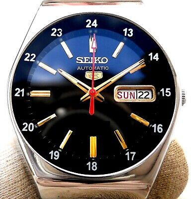 $ CDN77.24 • Buy Vintage Japan Seiko Automatic Black 24.Hours Railway Time Day Date Mens Watch