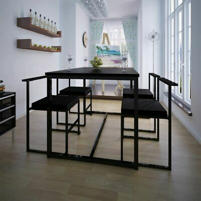AU343.95 • Buy Black 5 Pcs Dining Set Dinner Table And Chairs 4 Seater Modern Kitchen Furniture