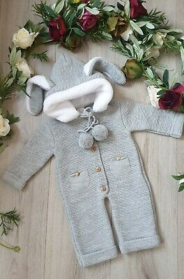 *sale* Baby Spanish Knitted Pom Pom Pram Suit All In One  With Bunny Ears  Grey • 15.99£