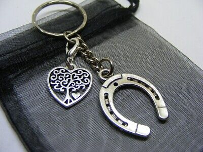 Lucky Horseshoe & Tree Of Life Heart Charm Keyring With Gift Bag • 3.95£