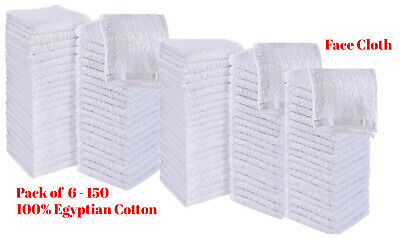 Luxury 100% Egyptian Soft Cotton White Face Towel Flannel Wash Cloth 30x30cm • 19.90£