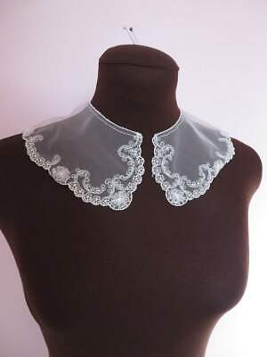 Pretty Embroidered Lace Collars Ivory On Tulle Net • 1.99£