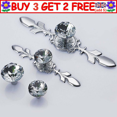 Crystal Drawer Cupboard Handle Door Knobs Cabinet Diamond Glass Pull Handle UK • 4.89£
