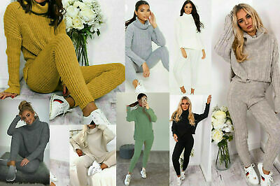 New Ladies Chunky Knitted Loungewear Ladies Polo High Neck Top Leggings Suit Set • 16.99£