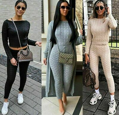 Women's Ladies Chunky Cable Knitted Co Ord Top Legging Loungewear Tracksuit Set • 14.99£