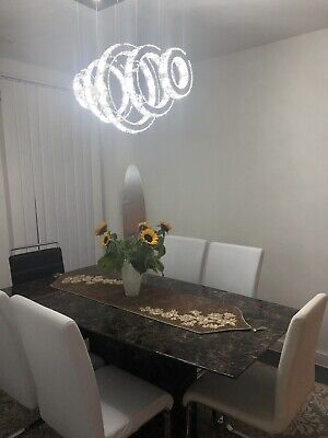 Black And Brown Marble-Effect Rectangular Dining Table, 6 Seater • 250£