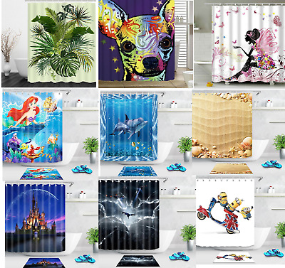3D Waterproof Polyester Fabric Shower Curtain Panel Décor 12 Hooks 180 X 180 Cm • 14.99£