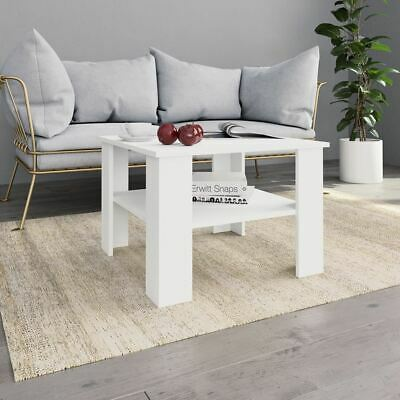 AU51.95 • Buy White Coffee Table Square Simple Design With Storage Shelf Sturdy Home Furniture
