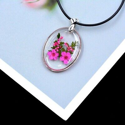 Real Flower Resin Necklace, Oval Shaped Forget-me-not In Pink • 3.99£