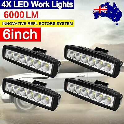 AU22.99 • Buy 4x 6inch LED Work Light Bar Flood Beam Reverse Lamp Driving Offroad 4WD