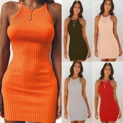 Women's Sexy Sling Mini Dress Bodycon Tight Dress Party Knitted Bandage Skirts • 7.49£