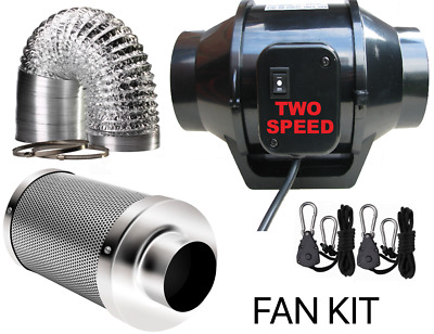 Inline Mixed Flow Fan Kit, Exhaust Ducting, Hydroponics Carbon Filter Ratchets  • 39.95£