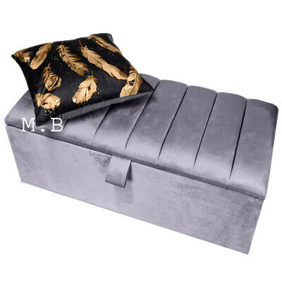 NEW Silver OTTOMAN STORAGE BOX TOY BENCH 7 Line Design Crushed And PLUSH VELVET • 68.98£