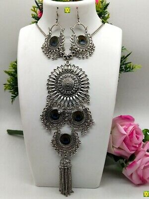 £8.99 • Buy ASIAN Silver Oxidised Ethnic Tribal Costume NECKLACE With Earrings JEWELLERY