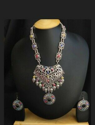 £19.99 • Buy ASIAN Silver Oxidised Ethnic Tribal Costume NECKLACE With Earrings JEWELLERY