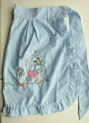 Half Apron  Pinny W Embroidery Frills & Pocket. Lovely As Gift Present • 14£